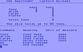 Voyage of the Mayflower - Commodore 64 (C64) rom download