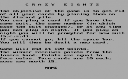 CRAZY EIGHTS (1984) image